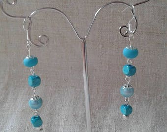 "Earrings ""square and round beads blue"""