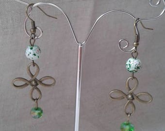 """Earrings """"beads and bronze green"""""""