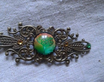 "brooch ""cabochon green tree"""
