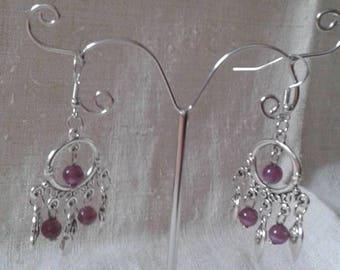 heart and purple beads earrings