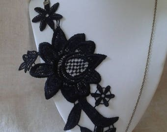 """necklace """"Black Lace applique and pearls"""""""