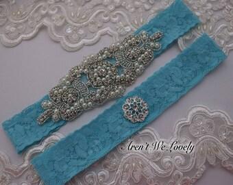 wedding garter, turquoise garter, bridal garter set, blush garter set, vintage garter, crystal garter, keepsake garter