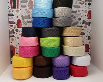 """1"""" Webbing, 5 and 10 yard rolls for dog collars, purse handles, leashes, key fobs, belts, and other craft uses"""