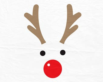 Rudolph Christmas Reindeer SVG, Reindeer Face SVG, Reindeer digital download files for Silhouette Cricut, vector Clip Art graphics