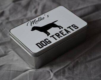 PET Lover Gift. Personalised Labrador Dog Treat Tin. Personalise With Your Pets Name