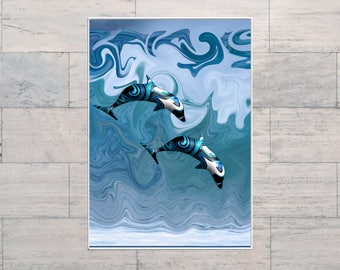 Dolphins, Dolphin Lovers, Surf Art, Wave Art, Ocean Art, Surfing, Printable, Instant Download, Digital Download, Multi Sizes, Digital Art,
