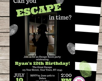 Escape Room Birthday Party Invitation Game Mystery Detective Spy Green Thumbprint Digital or Prints 5x7 Matching Back