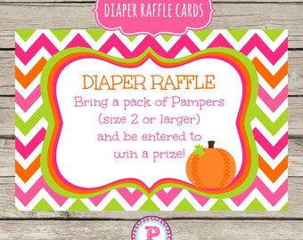 Pumpkin Patch Girl Diaper Raffle Cards Baby Shower Chevron Pink Orange Green Fall Harvest Farm Baby Shower