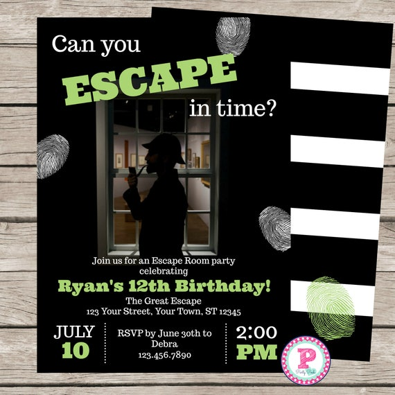 Escape room birthday party invitation game mystery detective for Escape room party
