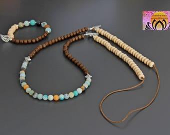 Amazonite Wood Silver Long Necklace-Gemstone Wood Necklace-Necklace Bracelet Set-Boho Chic Elegant Yoga Jewellery-Layering-Gift for Her
