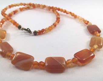Genuine Carnelian necklace, Orange Gemstone Necklace, Faceted Carnelian Necklace with Rectangular Pendants.
