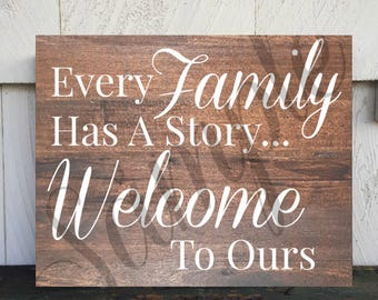 Printable Wall Sign - Every Family Has A Story Welcome To Ours