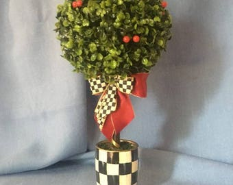 Decorative Arrangement Topiary Tree With MacKenzie Childs Ribbon Bow