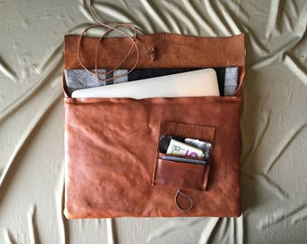 Soft Brown Leather Laptop Sleeve and Wallet Gift Set