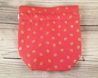 Strawberry Knitting Project Bag, Small Sock bag, project bag, small bag, drawstring bag, storage bag