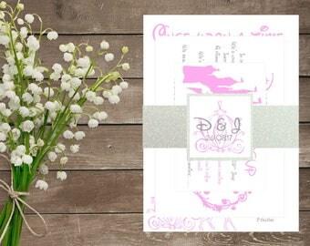 Cinderella Wedding Invite - Cinderella Disney Wedding Invitation Set Shimmer Card - Disney Wedding - Disney Themed Invitations
