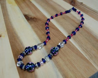 Blue and Pink Chunky Beaded Necklace
