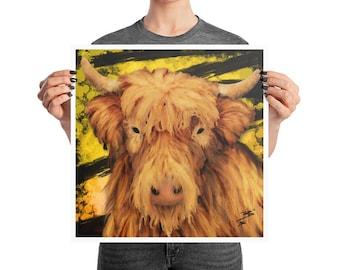 West Highland Cow Poster, 10x10, 12x12, 18x18, Modern Decor, Animal Nursery Print