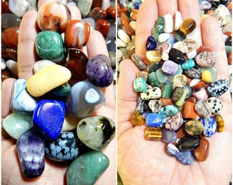 Tumbled Crystals Mix 1Lb Split Size UNDYED Lg & Sm Gemstones Rocks Crystal Stones