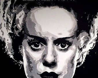 Bride of Frankenstein Original Oil Painting Print 8x10 Universal Monsters Horror Halloween