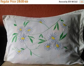 A very old hand-embroidered pillow case, a great addition to your guest house; Bulgarian embroidery, embroidered cover