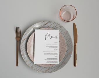 Elegant Black and White Wedding Menu -  Simple Modern Wedding Menu - Monochrome Menu Card - On the Day Stationery - Wedding Day