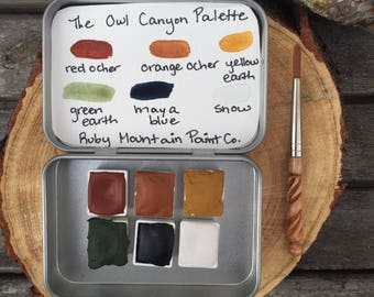 The Owl Canyon Palette.  A handmade watercolor paint set featuring 6 colors