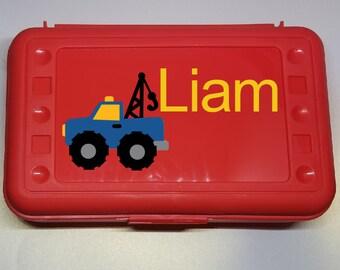 Tow Truck Pencil Box- Truck Crayon Box, Truck Pencil Case, Truck Birthday, Back to School Gift, Personalized Pencil Box, Boys Pencil Box