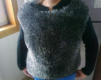 Jacket/Cardigan hand knitted women wool faux fur 42/44