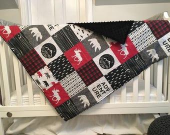 Red & Black Adventure Minky Blanket