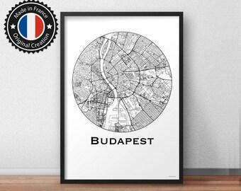 Poster Budapest Hungary Minimalist Map - City Map, Street Map