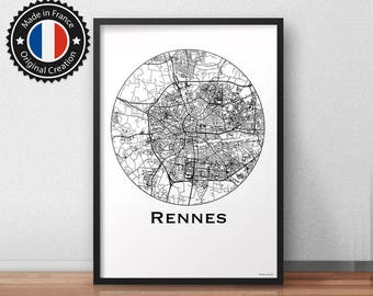 Poster Rennes France Minimalist Map - City Map
