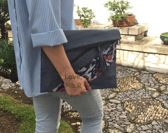 Blue & Brown Clutch or Sling, Messenger Bag