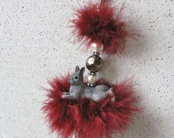 Bag pendant, charm, rabbit, Marabu feathers