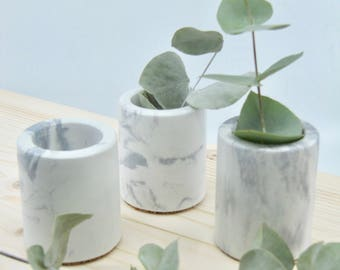 Mini marbled concrete pot / Mini concrete planter / Pot for mini cactus