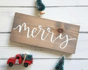 Merry, Holiday, Rustic, Christmas, Hand Lettered, Hand Painted, Wood Sign