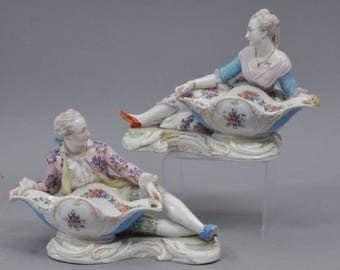Pair of 19th C. Meissen Porcelain Figural Sweetmeat