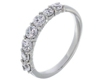 Classic 7 Stone Enagagement Ring    Wedding Jewelry With Box    Sterling Silver Ring