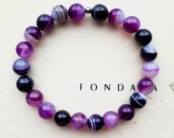 Purple Striped Agate Stretch Bracelet