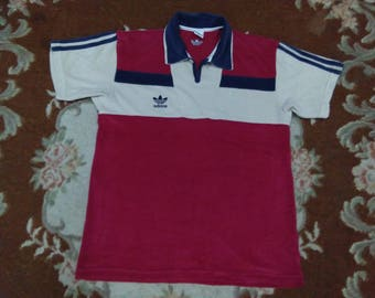 vintage adidas polos shirt embroidered trefoil size m-l