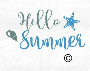 Hello summer SVG Clipart Cut Files Silhouette Cameo Svg for Cricut and Vinyl File cutting Digital cuts file DXF Png Pdf Eps