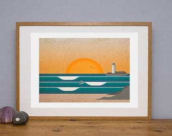 Surf illustration, Godrevy Lighthouse, Picture of surfer, surf wall art, surf poster, surf decor, surf illustration, Cornwall, giclee print