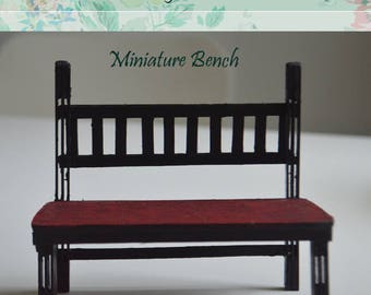 Miniature  Wooden entry bench Scale 1/12 indoor or outdoor bench, Dollhouse bench