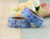 Washi Tape - Decorative Tape - Paper Tape - Planner Tape - Deco Paper Tape - Planner Washi - Floral Washi Tape - Blue Flowers