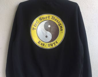 Vintage T & C surf designs sweatshirt / big logo surf surfing / crewneck / pullover sweater size medium