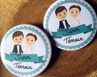 """Lot de DEUX gros badges mariage """" Super témoin de mariage"""" le couple parfait"""