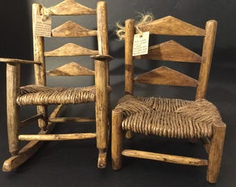 Pair of wood chairs. Rocking chair display. Doll Chair.His and hers display chairs.