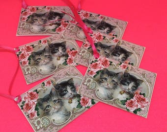 Set of 6 kitten cat gift tags gift labels pink blue luxury handmade satin ribbon labels for gifts birthday Easter valentines scrapbooking