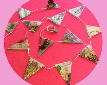 Birthday Banner Daughter Birthday  Bunting vintage birthday party decor handmade garland decoration upcycled greetings cards wall decor