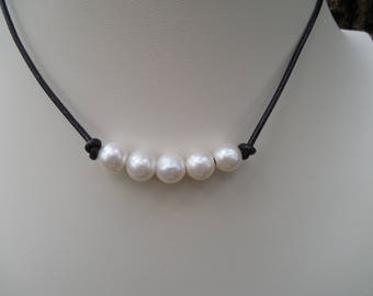 Freshwater Pearls On Leather Cord Choker